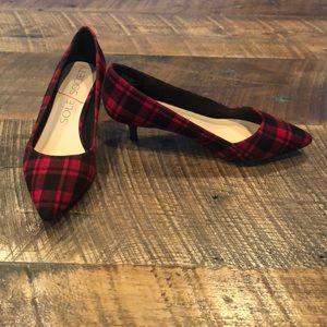 Sole Society Red/Black plaid heels